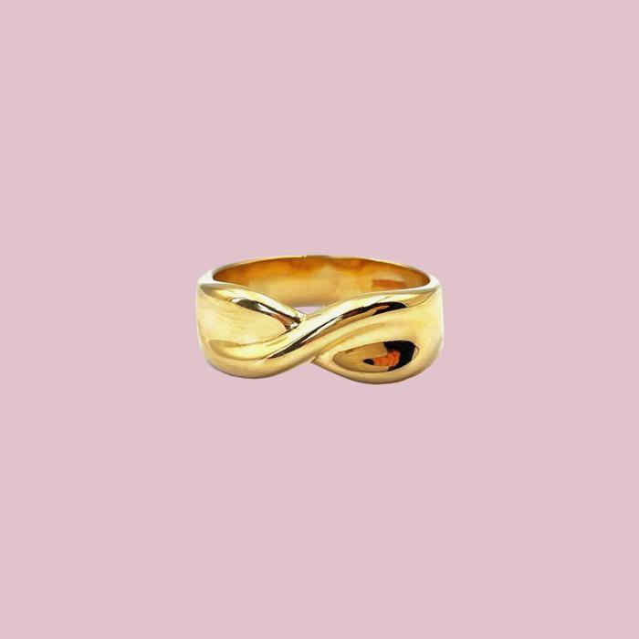 vintage gouden band ring gedraaid breed 9 karaat sieradenmeisje