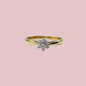 ring met diamant cluster 0.10 ct