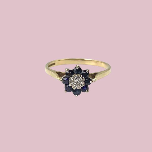 gouden ring met saffier en diamant bloem