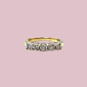 vijf diamanten rijring goud 9 karaat