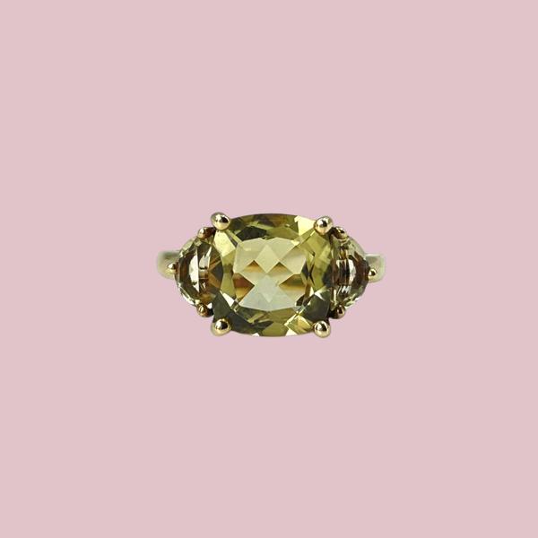 ring lime quartz 9 karaat