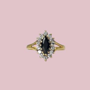 vintage gouden marquise geslepen ring saffier entourage