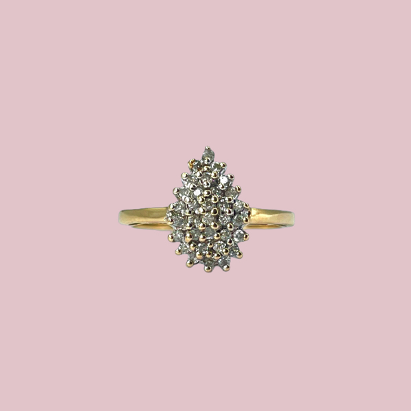 ring druppel vorm diamantjes
