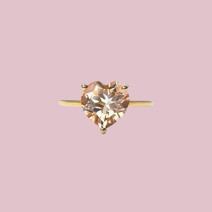 vintage ringen hart van roze topaas