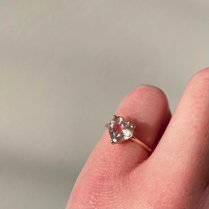 gouden ring met roze topaas hart love