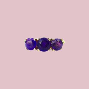 ring amethist drie stenen vintage gouden ringen