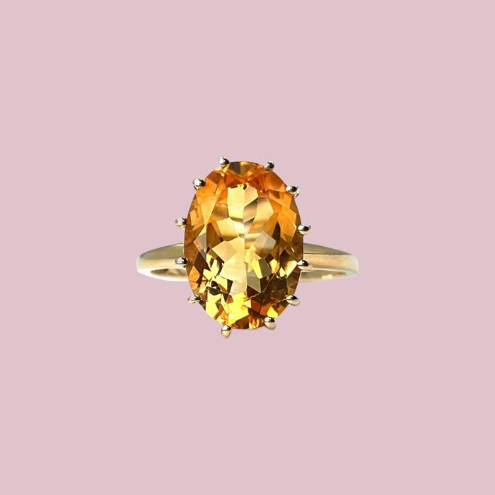 vintage ringen grote citrien steen geel