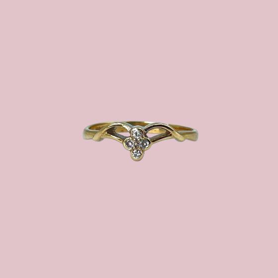 vintage ring met klavertje van diamant