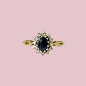 vintage ring lady di saffier en diamant halo