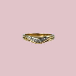 vintage gouden ring wishbone met diamantjes
