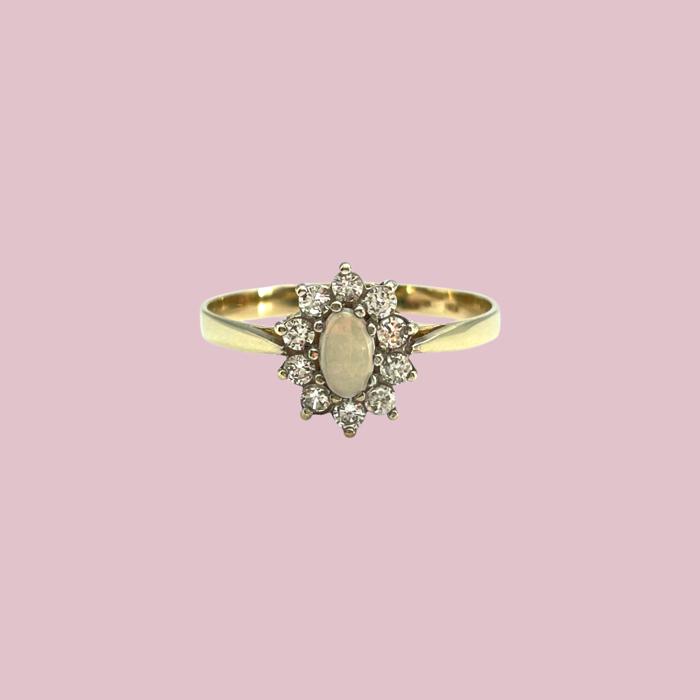 vintage ring opaal cluster goud 9k