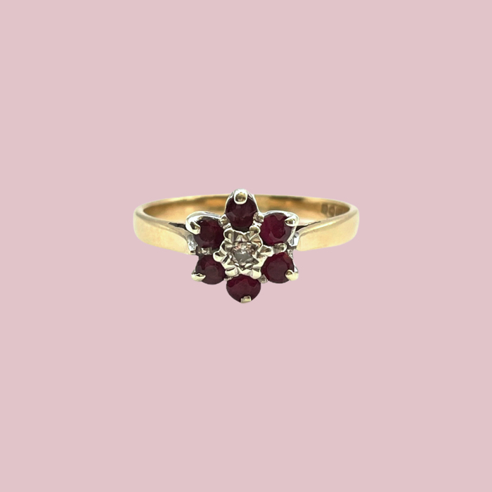 vintage ring robijn en diamant bloem