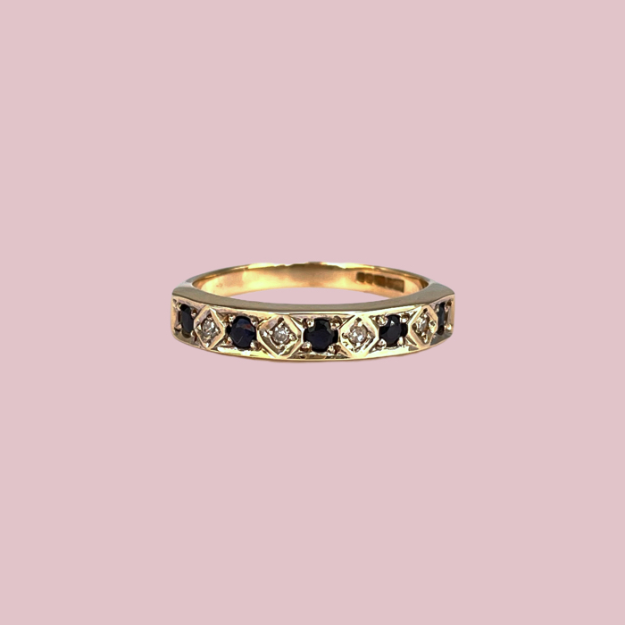 vintage eternity ring saffier en diamant van 9 karaat