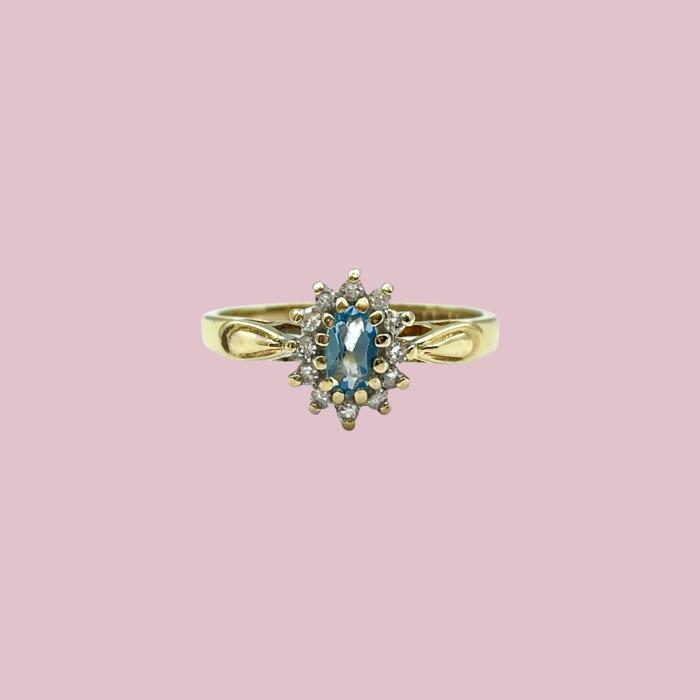 vintage gouden cluster ring blauwe edelsteen aquamarijn diamant