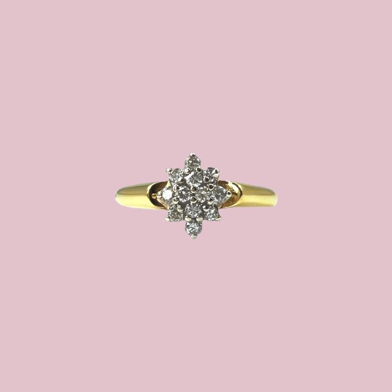 diamant cluster ring goud vintage sieradenmeisje