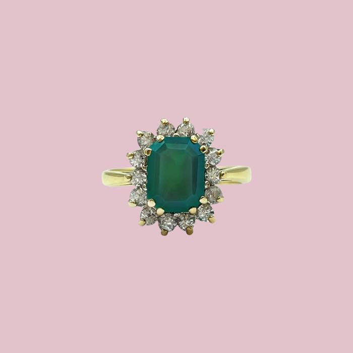 groene entourage ring kwarts vintage goud