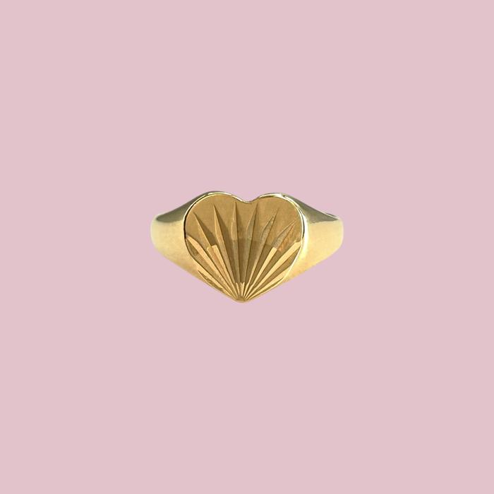 zegelring met hart van goud