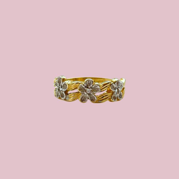 vintage bloem ring met diamant