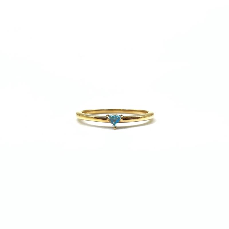 minimalistische gouden ring met blauwe topaas 9k