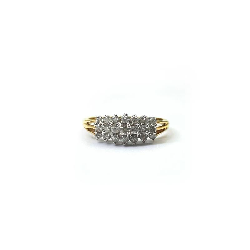 diamant 0.45ct cluster ring 9k goud