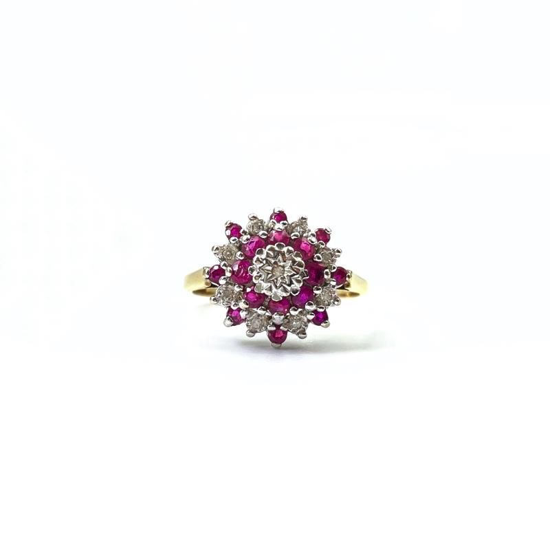 gouden ring met robijn en diamant cluster vintage goud