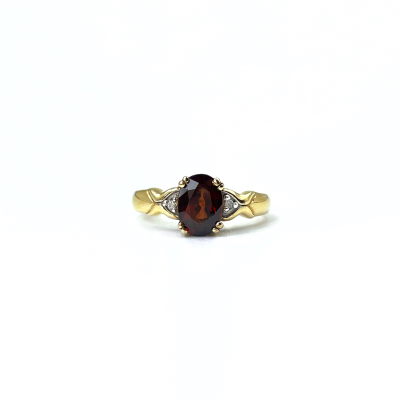 vintage gouden ring roodbruine zirkoon edelsteen