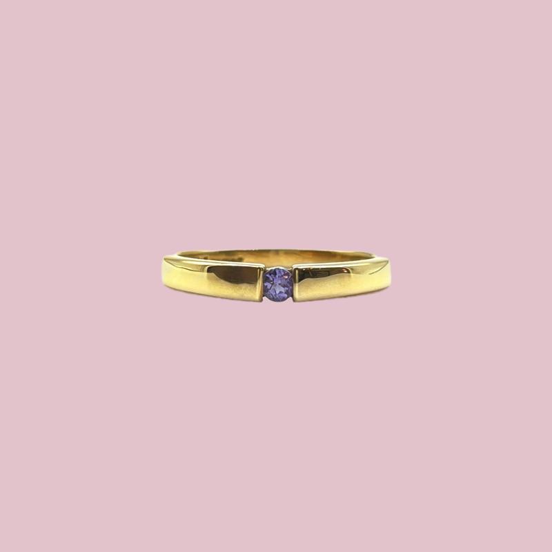 gouden ring met tanzaniet december geboortesteen