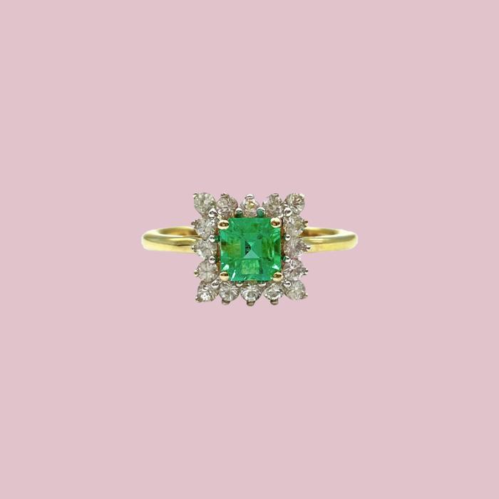 vintage ring met smaragd vierkant cluster ring goud