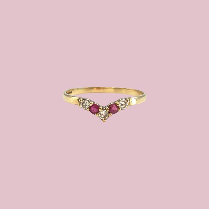 robijn en zirkonia wishbone ring goud vintage