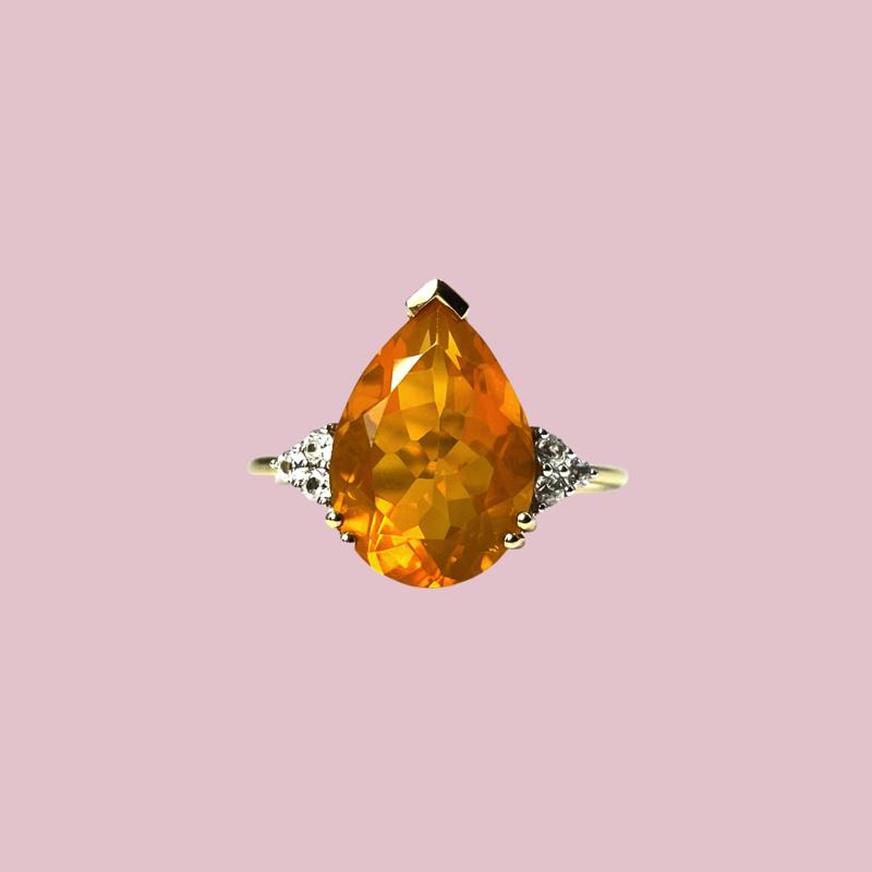 vuuropaal ring pear cut gele opaal vintage 10k goud