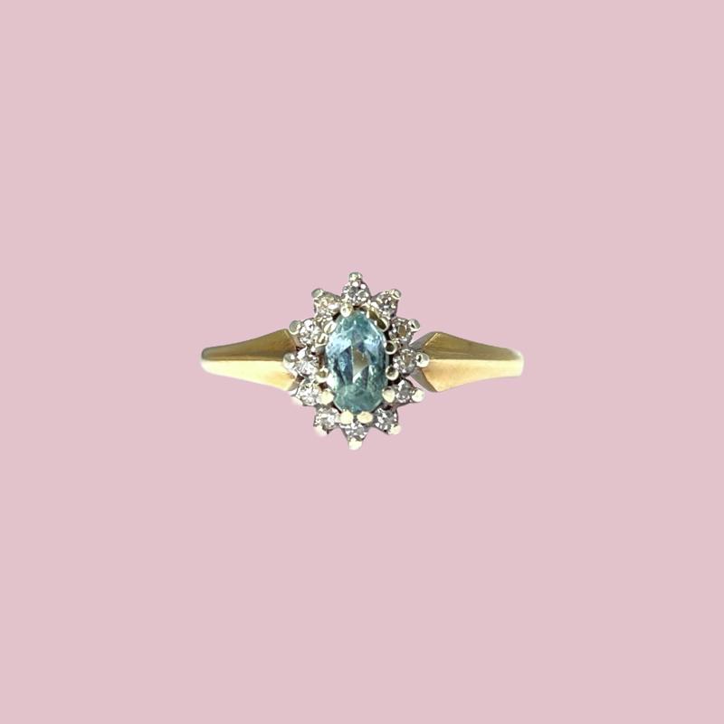ring met aquamarijn vintage gouden cluster ring met diamant