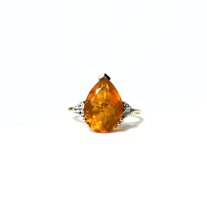 ring vuuropaal pear cut gele opaal vintage 10k goud