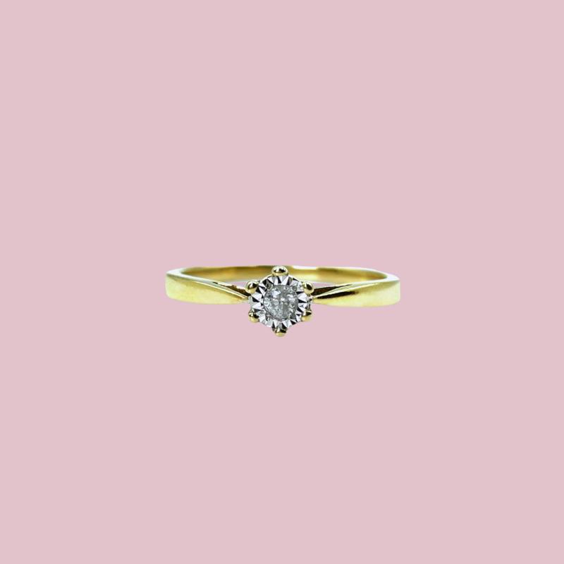 gouden diamant ring solitair vintage