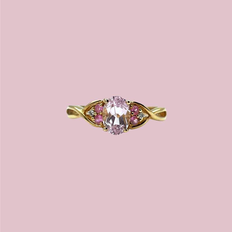 vintage ring met kunziet en diamant lila edelsteen
