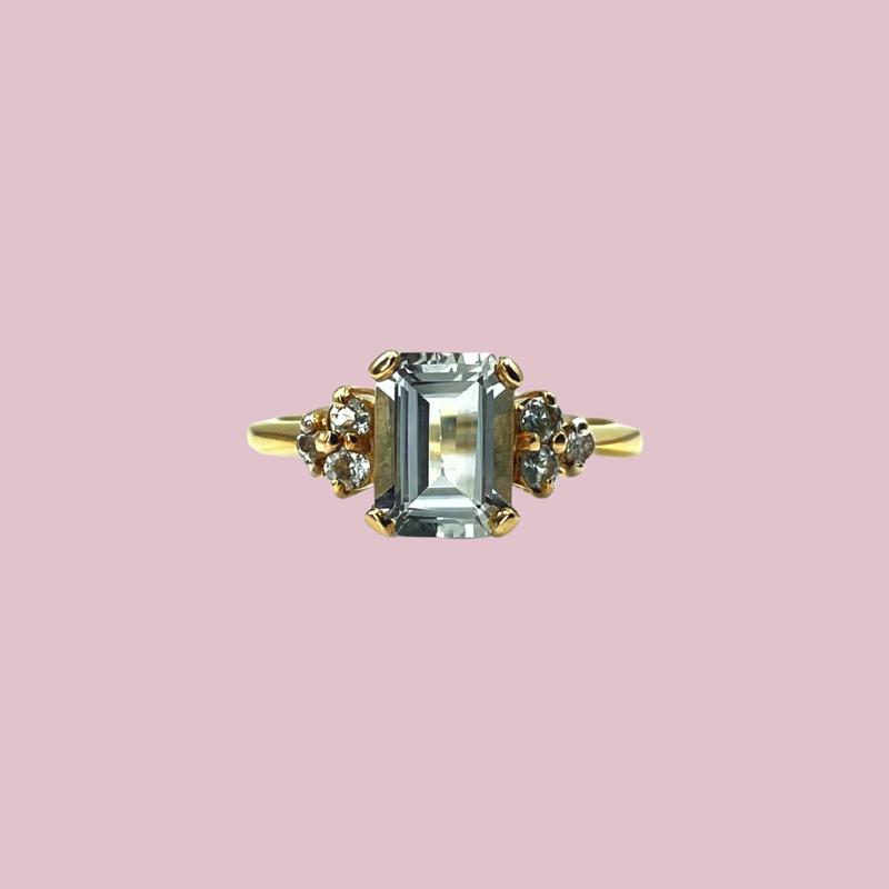 vintage ring aquamarijn rechthoekig 9k goud