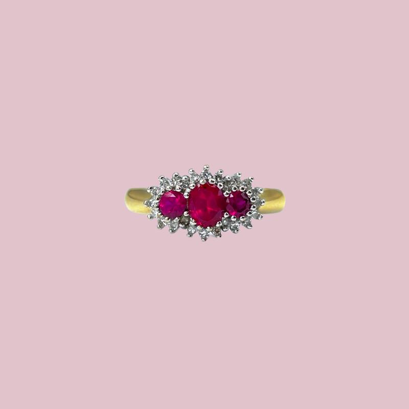 robijn ring met diamant vintage cluster ring van goud