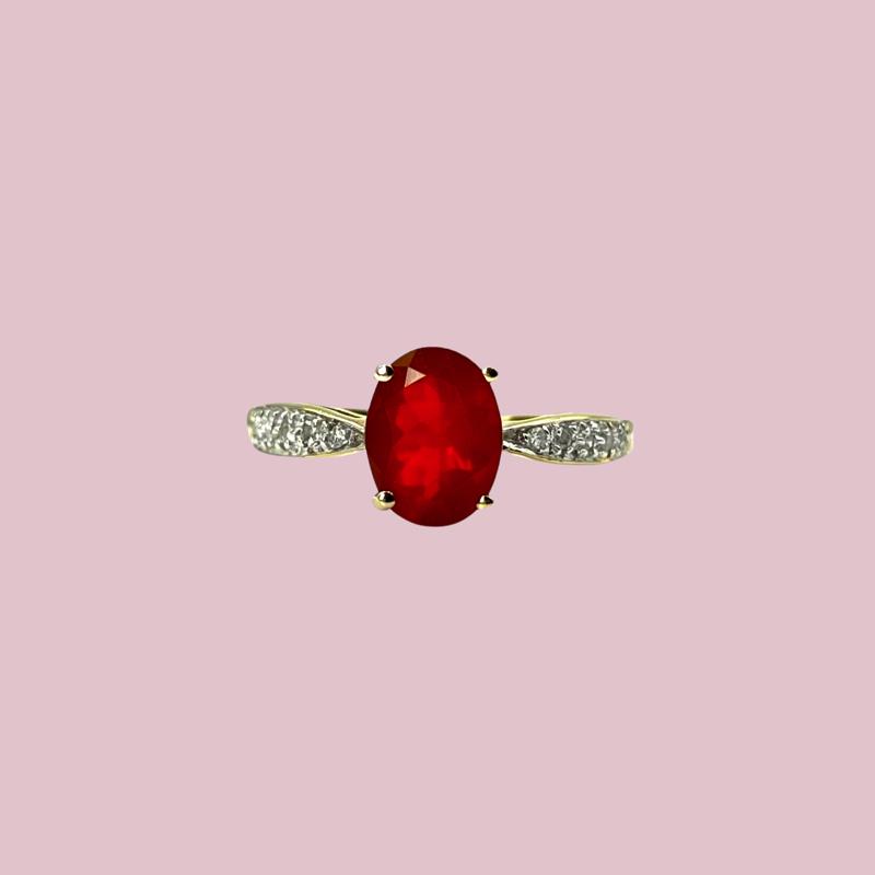 vintage ringen goud vuuropaal en diamant van sieradenmeisje