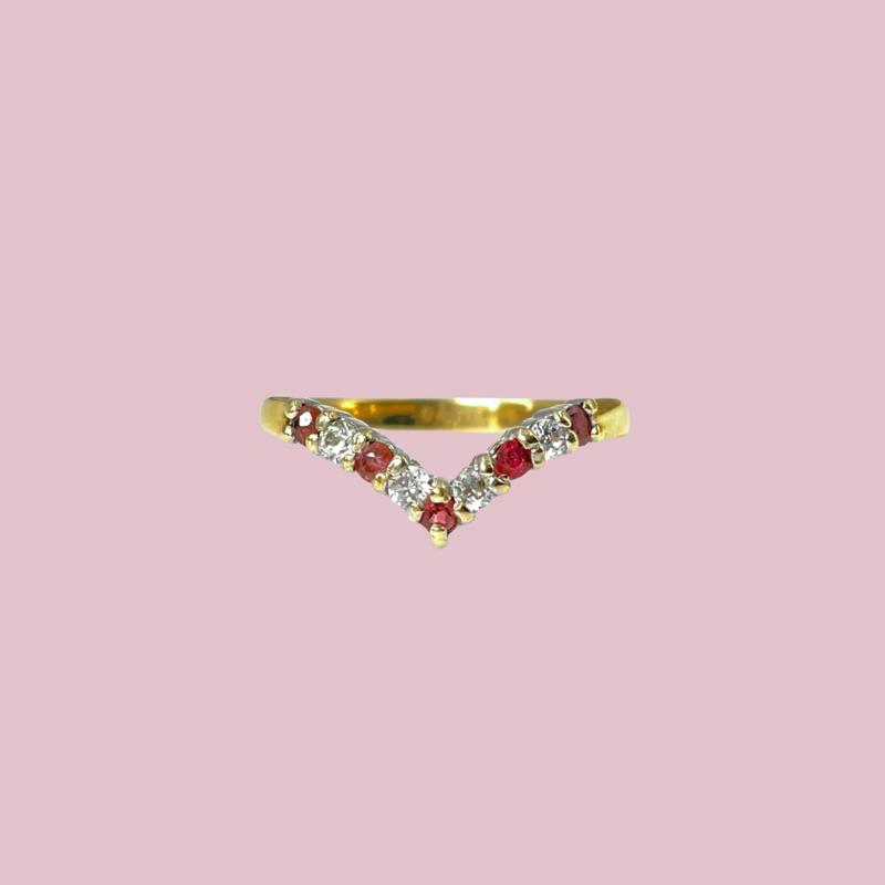 gouden wishbone ring met robijn en zirkonia sieradenmeisje vintage
