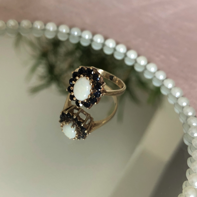 opaal saffier ring