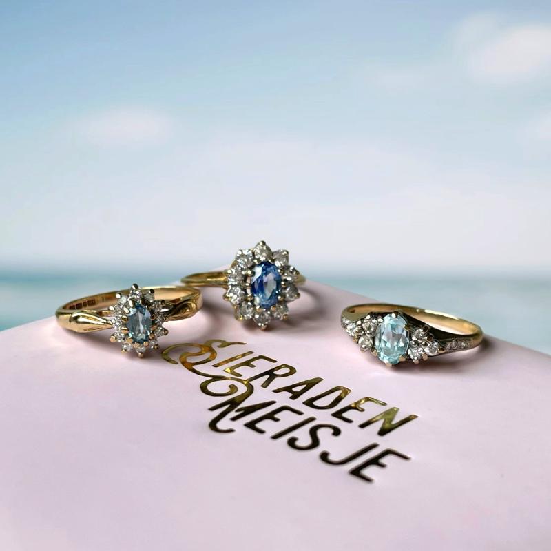 cluster ringen blauw van goud