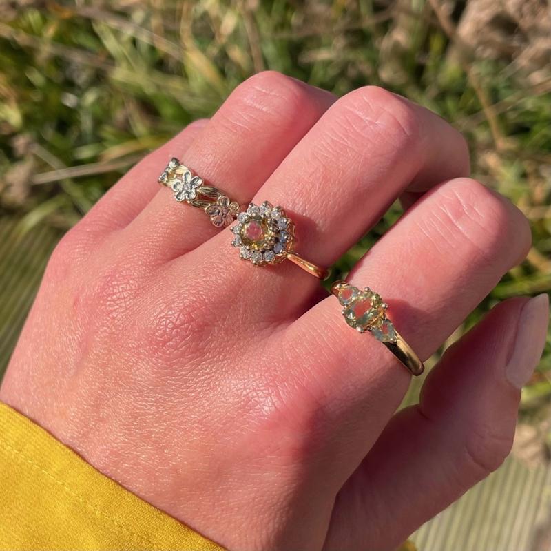 vintage ring met gele steen
