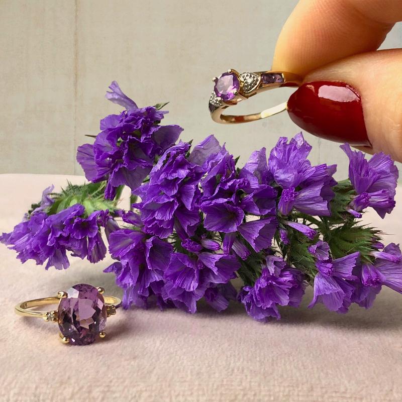 ring met amethist edelsteen