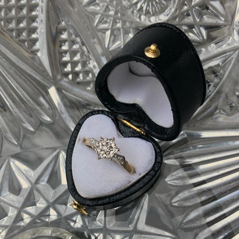 cluster ring met diamant van goud