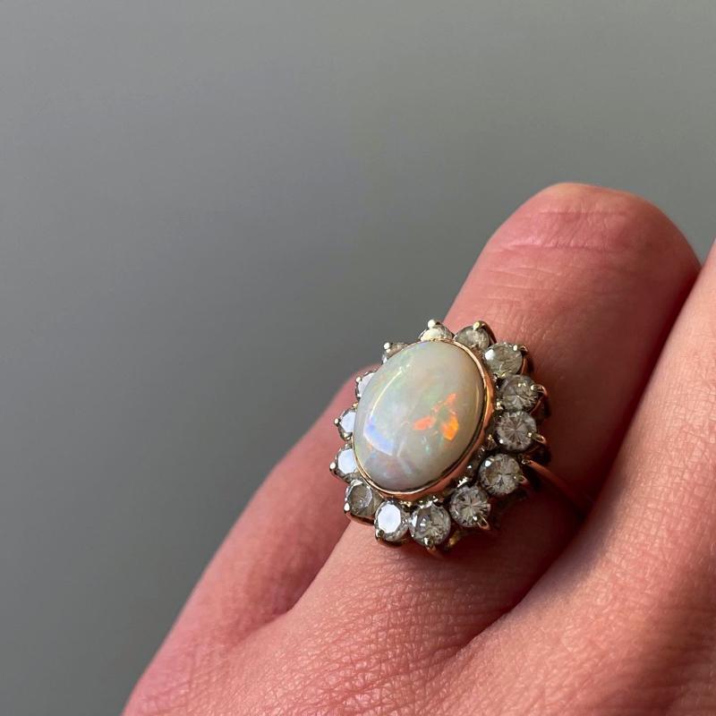 cluster ring met grote opaal