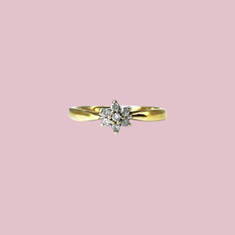 gouden ring diamant cluster bloem vintage