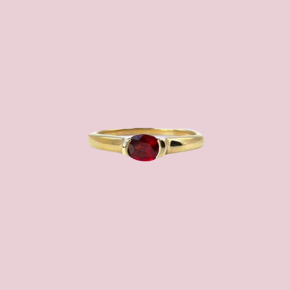 ring granaat goud geboortesteen januari vintage ringen