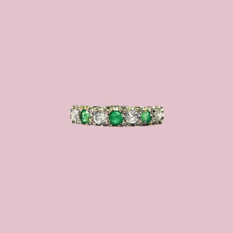 gouden eternity ring smaragd vintage rij ring