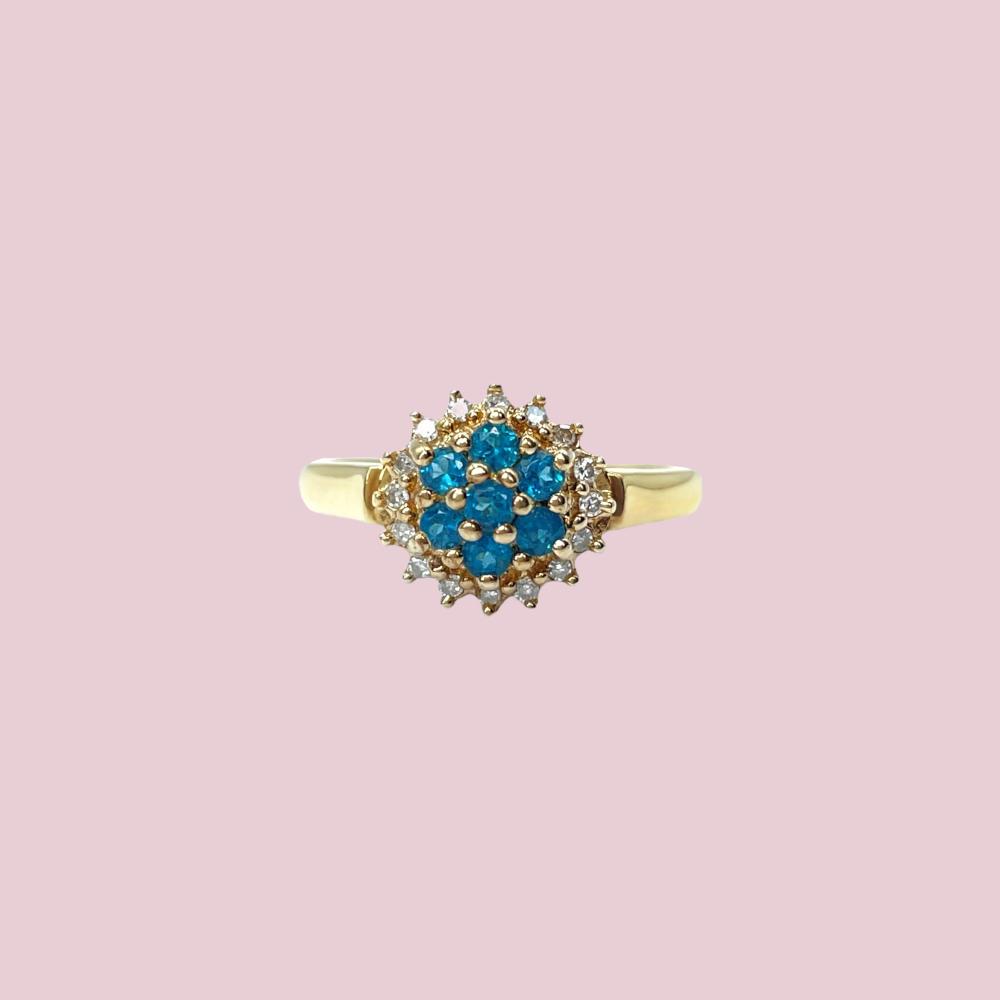 topaas en diamant cluster ring goud vintage ringen bloem