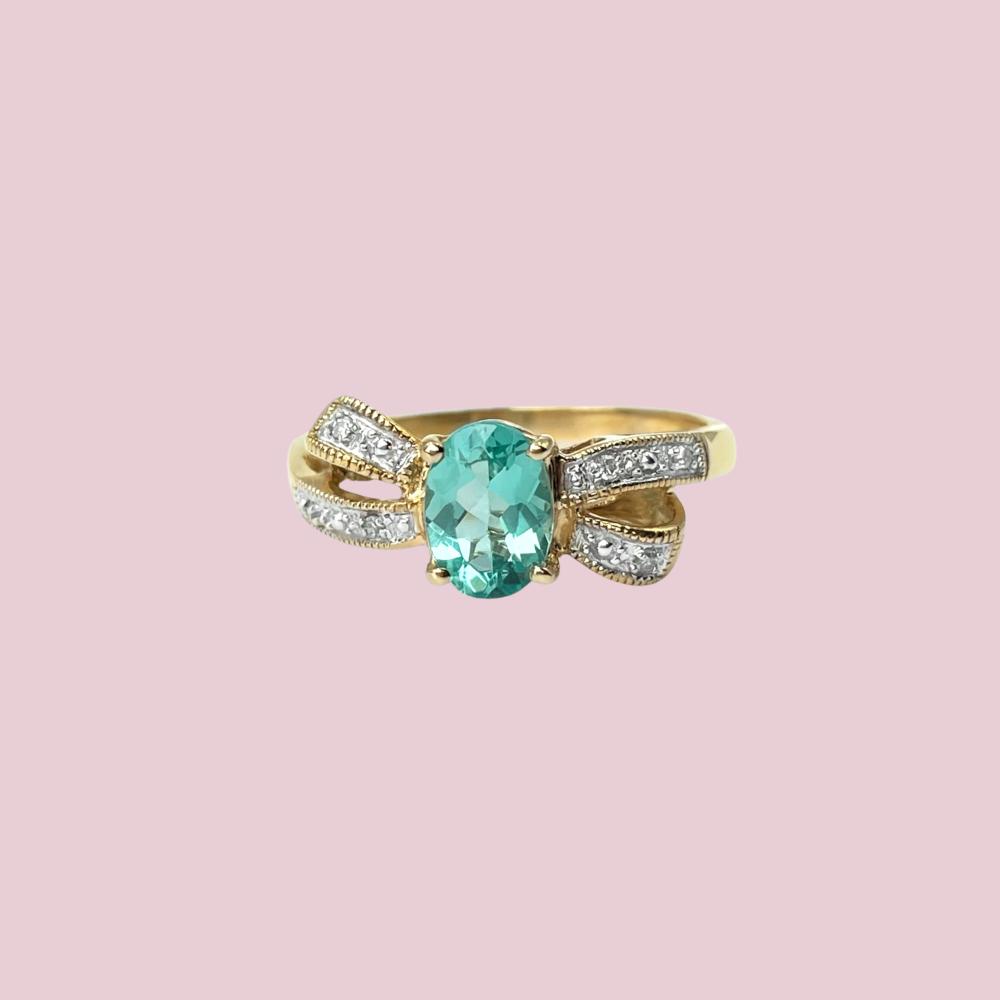 vintage gouden strik ring met apatiet en diamant
