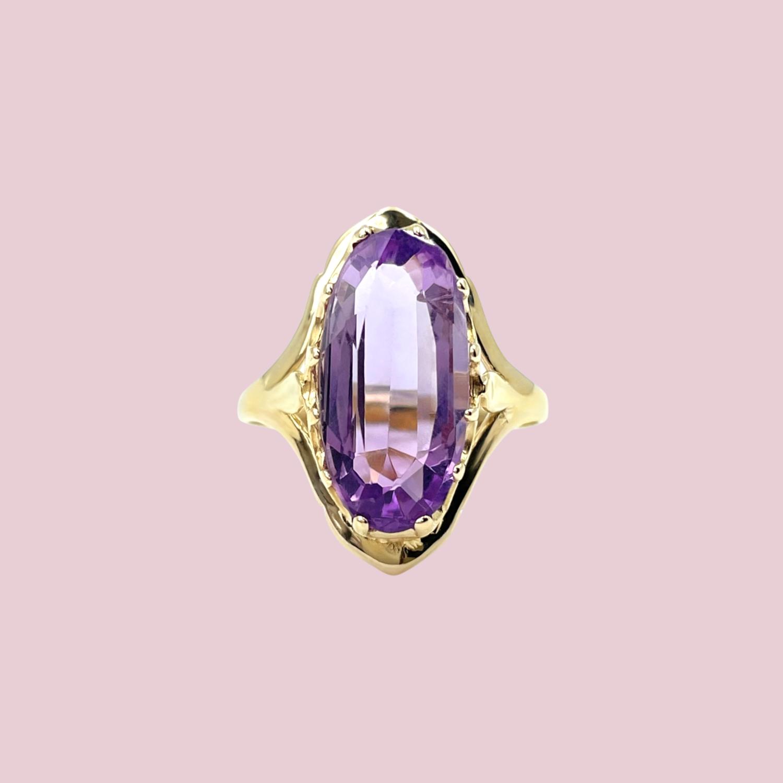 gouden ring met amethist vintage goud